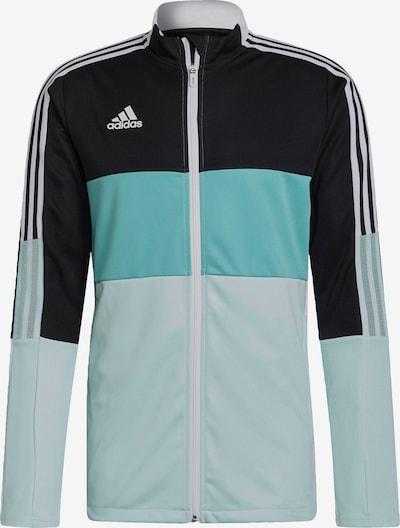 ADIDAS PERFORMANCE Veste de sport 'Tiro' en turquoise / bleu clair / noir / blanc, Vue avec produit