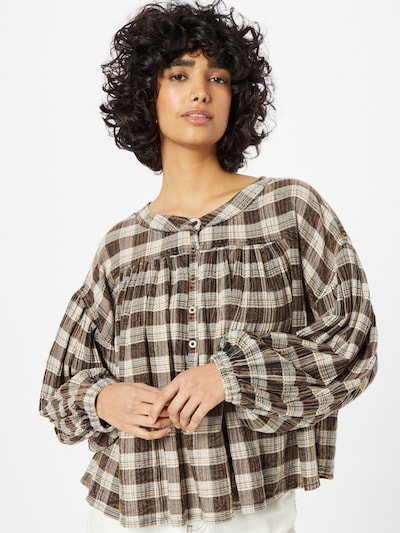 Free People Blouse 'JESSI' in Cognac / mottled brown / Green / White, View model