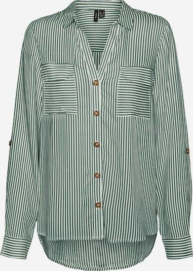 VERO MODA Блуза 'Bumpy' в тревнозелено / бяло, Преглед на продукта