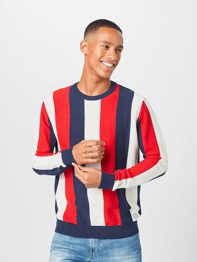 Pepe Jeans Пуловер 'MICHAEL' в тъмносиньо / червено / бяло: Изглед отпред