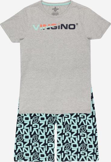 VINGINO Pyjama 'WIENO' en bleu marine / turquoise / gris clair / orange foncé, Vue avec produit