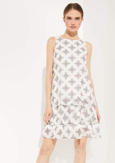 COMMA Kleid in beige / grau / weiß, Modelansicht