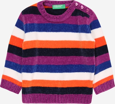 UNITED COLORS OF BENETTON Pullover in marine / lila / orange / schwarz / weiß, Produktansicht