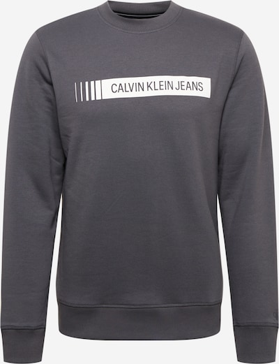 Calvin Klein Jeans Sweater majica u tamo siva / bijela, Pregled proizvoda