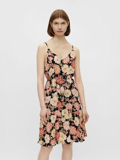 PIECES Kleid in beige / hellorange / dunkelorange / schwarz, Modelansicht