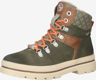 TOM TAILOR Lace-Up Ankle Boots in Caramel / Grass green / Pastel green, Item view
