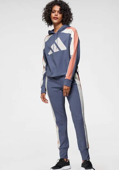 ADIDAS PERFORMANCE Tracksuit in Smoke blue / Pink / White: Frontal view