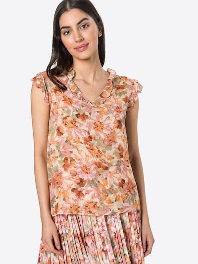 Rich & Royal Blusenshirt in creme / hellgrün / pfirsich / dunkelrot, Modelansicht