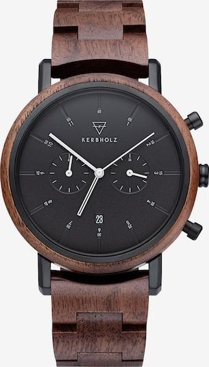 Kerbholz Uhr 'Johann' in kastanienbraun / schwarz, Produktansicht