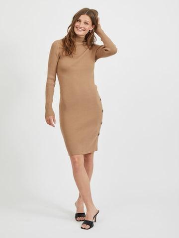 VILA Gebreide jurk in Bruin