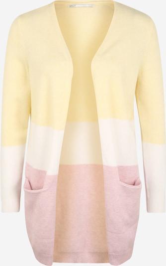 Only (Petite) Gebreid vest 'QUEEN' in de kleur Lichtgeel / Rosa / Wit, Productweergave