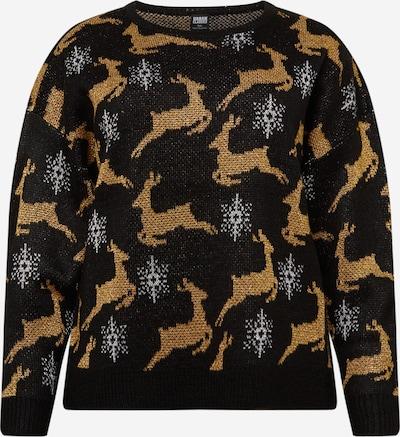 Urban Classics Curvy Širok pulover 'Christmas' | bež / črna / bela barva, Prikaz izdelka