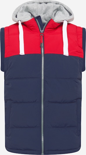 INDICODE JEANS Chaleco 'Easterly' en azul / gris claro / rojo, Vista del producto