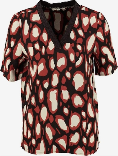 GARCIA Bluse in beige / feuerrot / schwarz, Produktansicht