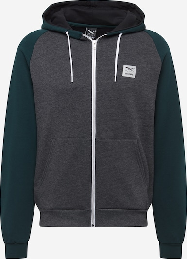 Iriedaily Zip-Up Hoodie 'De College' in mottled grey / Dark green / White, Item view