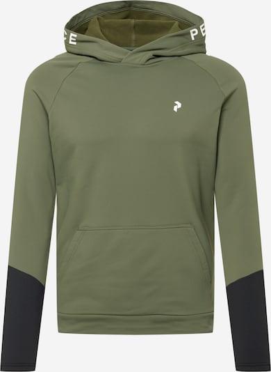 PEAK PERFORMANCE Sportsweatshirt 'Rider' in khaki / schwarz / weiß, Produktansicht