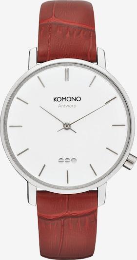 Komono Analoguhr in rostrot / silber / weiß, Produktansicht