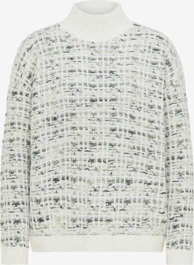 myMo NOW Pullover in grün / weiß, Produktansicht