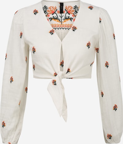 Y.A.S (Petite) Bluse 'MARITA' i orange / orangerød / sort / hvid: Frontvisning