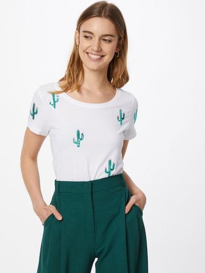 ONLY T-shirt 'KITA' en sapin / blanc: Vue de face