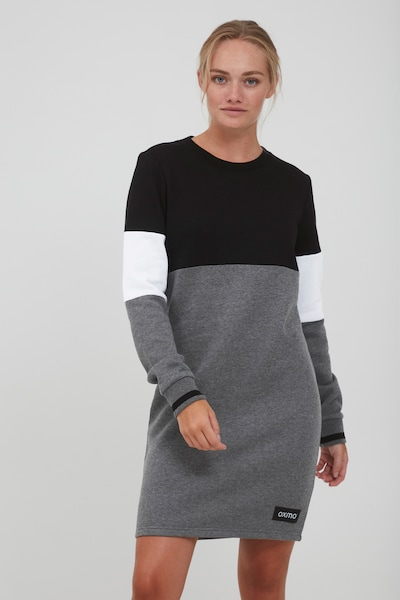 Oxmo Sweatkleid 'OMILA' in grau / schwarz / weiß, Modelansicht
