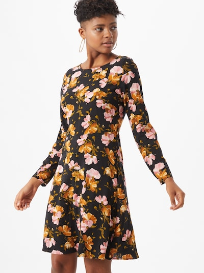 ICHI Kleid 'Vera' in dunkelorange / rosa / schwarz, Modelansicht