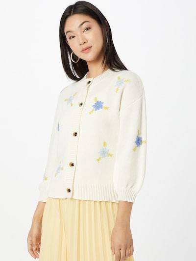 NÜMPH Knit Cardigan 'CHELA' in Smoke blue / Light blue / yellow gold / White, View model