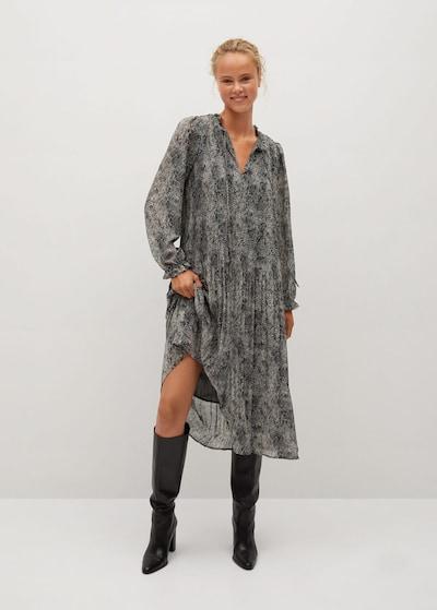 MANGO Kleid 'Pliti' in grau / schwarz, Modelansicht