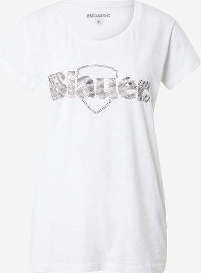 Blauer.USA T-Shirt 'MANICA' in silber / weiß, Produktansicht