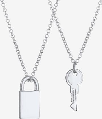 ELLI Halskette Schloss, Schlüssel in Silber
