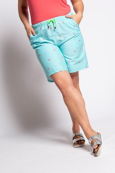 Ulla Popken Pantalon en turquoise / rouge clair, Vue avec modèle