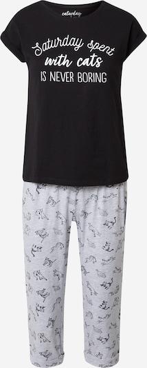 ESOTIQ Pyjama 'ENYA' en gris chiné / noir / blanc, Vue avec produit