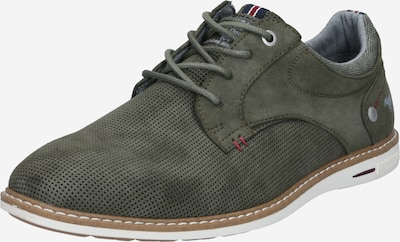 MUSTANG Lace-up shoe in Grey / Olive: Frontal view
