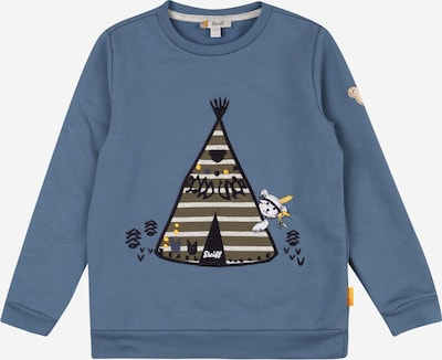 Steiff Collection Sweatshirt in de kleur Smoky blue / Lichtbruin / Zwart / Wit, Productweergave