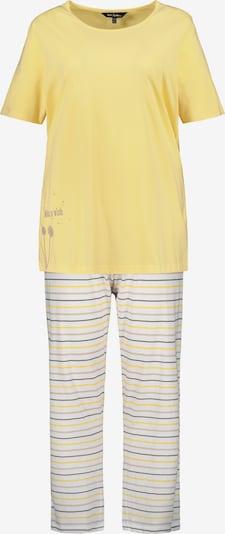 Ulla Popken Pyjama en jaune clair / blanc, Vue avec produit