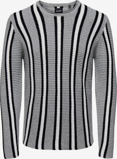 Only & Sons Trui in de kleur Lichtgrijs / Zwart / Wit, Productweergave