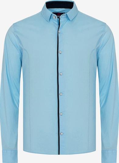 CIPO & BAXX Hemd MARCO mit Kontrast-Saum und Knopfleiste in blau: Frontalansicht
