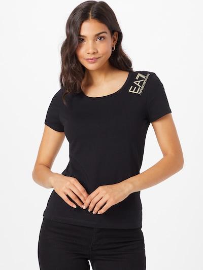 EA7 Emporio Armani T-shirt i ljusgul / svart: Sedd framifrån