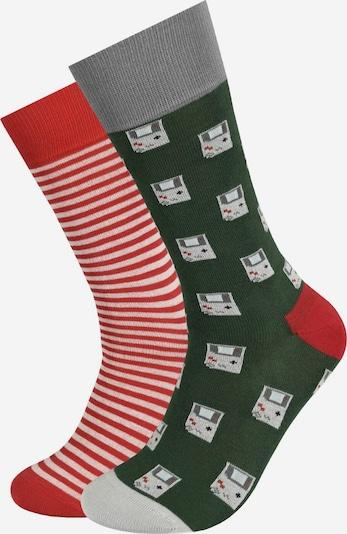 DillySocks Socken in grau / dunkelgrau / dunkelgrün / hellpink / rot, Produktansicht