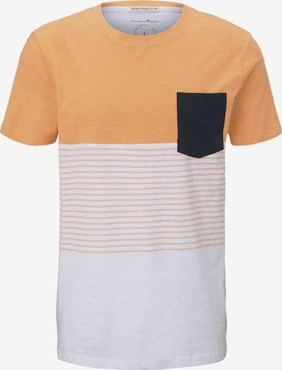 TOM TAILOR DENIM T-Shirt in orange / schwarz / weiß: Frontalansicht