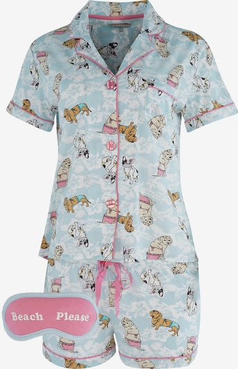 PJ Salvage Korte pyjama ' Print ' in de kleur Lichtblauw, Productweergave