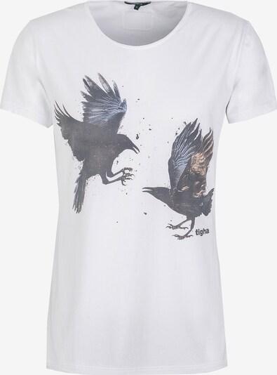 tigha T-Shirt 'Ravens Wren' in blau / braun / schwarz / weiß, Produktansicht