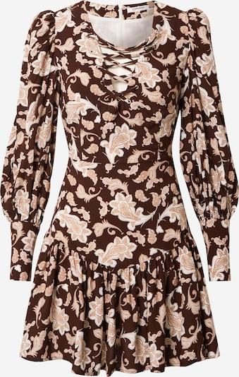 GLAMOROUS Kleid in hellbraun / dunkelbraun / weiß, Produktansicht