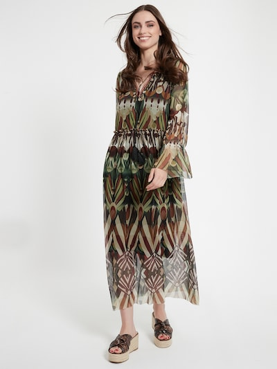 Ana Alcazar Maxikleid ' Ceosi ' in braun / anthrazit / grün, Modelansicht