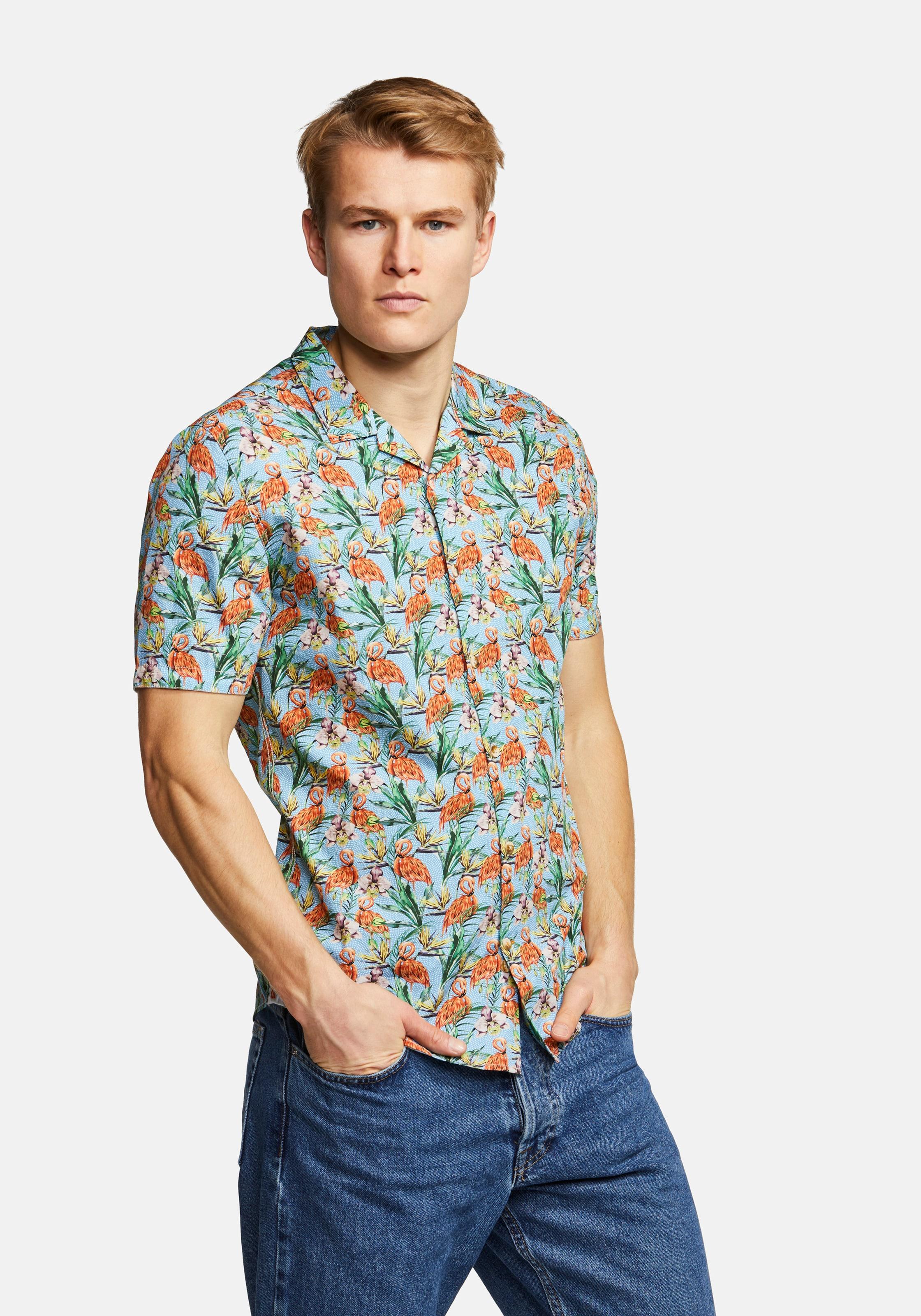 COLOURS & SONS Kurzarmhemd Flamingo-Print COLIN in grün / mint Sweatstoff ART125411-002