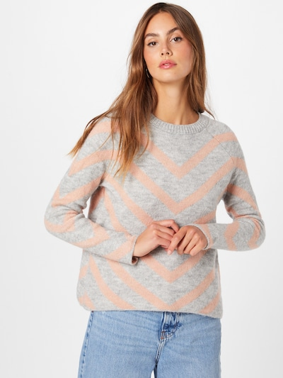 ONLY Pullover 'LELIZA' in hellgrau / apricot, Modelansicht