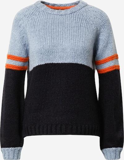 MORE & MORE Pullover in marine / rauchblau / neonorange, Produktansicht