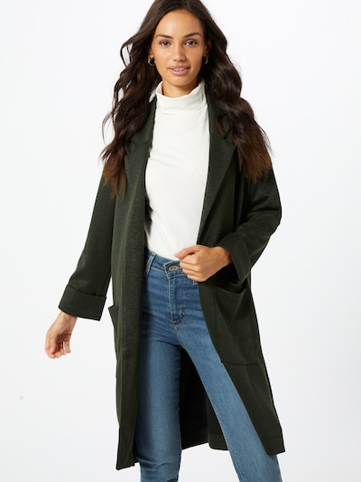 PIECES Between-seasons coat 'Dorita' in dark green, View model