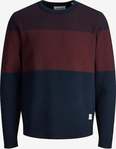 JACK & JONES Pullover in dunkelblau / burgunder / weinrot, Produktansicht