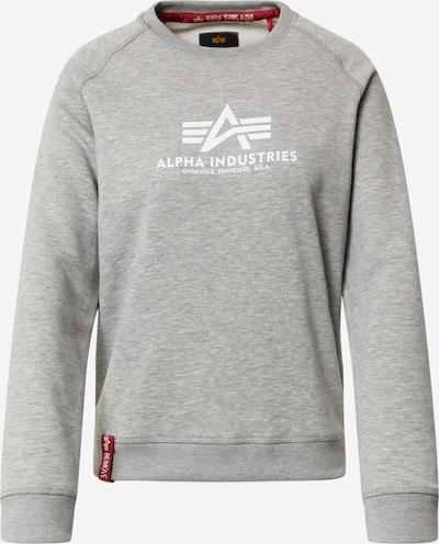 ALPHA INDUSTRIES Sweater majica u siva melange / bijela, Pregled proizvoda